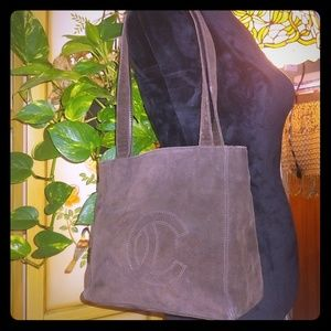 Chanel tote, suede - chocolate brown